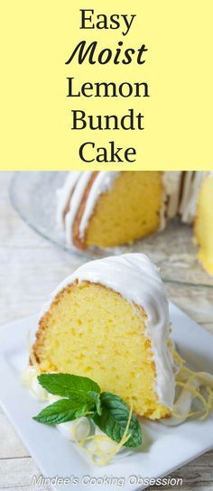 Easy Moist Lemon Bundt Cake- a nearly from scratch bundt cake that is full of lemon flavor and drizzled with lemon cream cheese frosting. via @https://www.pinterest.com/mindeescooking/