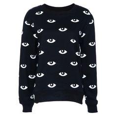 White Eyes Print Black Long-sleeved Sweatshirt (32,290 KRW) ❤ liked on Polyvore featuring tops, hoodies, sweatshirts, sweaters, sweatshirt, shirts, jumpers, leather shirt, oversized shirt and oversized white shirt