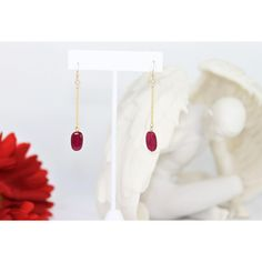 Genuine Ruby Earrings, 14KY gold fil, Rubies, Ruby jewelry, Ruby... ($53) ❤ liked on Polyvore featuring jewelry, earrings, rubies, ruby drop earrings, yellow gold ruby earrings, gold chain earrings, chain earrings and chain drop earrings