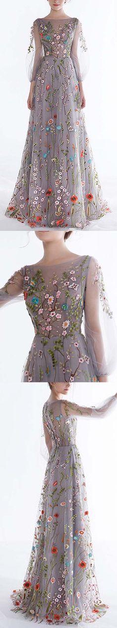 Очаровательная Длинные рукава Мода Вышивка Шикарные длинные платья выпускного вечера, WG1005