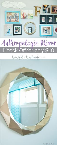 I Cannot Believe What She Used To Make This Mirror Decorating Your Home Can Get Expensive, Unless You Get Creative. This Easy 10 Anthropologie Mirror Knock Off Tutorial Shows You How To Get Huge Style Without The Huge Price Tag. Diy Wall Art, Diy Wall Decor, Decor Crafts, Diy Home Decor, Wall Decorations, Anthropologie Mirror, Furniture Makeover, Diy Furniture, Contour