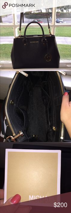 Black Hard Leather Michael Kors Purse Bag is made of hard leather and stands up on its own. 2 large pockets on either side, pockets also on inside with handles and shoulder strap. Very good condition, lightly used, no damage done to leather or inside. *Leather cleaning guide kept for both for authenticity reasons.* Michael Kors Bags Shoulder Bags