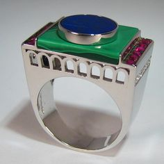 Art Deco Ring, White Gold 18 Carats, with Rubies, Malachite and Lapis. - ALL HAND MADE -