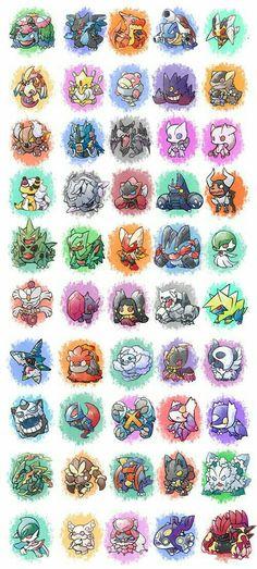 Pokémon, cute, chibi, Mega Evolutions; Pokémon
