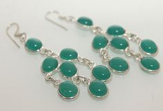 Beautiful Green Genuine Onyx Designer Earrings. Starting at $1