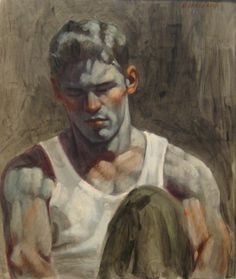 "The Art of Mark Beard (aka Bruce Sargeant) ""Portrait of a Young Man"". Oil on canvas"