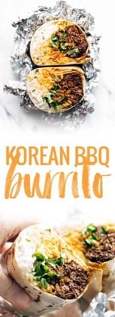 Korean BBQ Bangkok Burrito - An easy food-truck-style recipe you can make with a slow cooker! spicy beef, kimchi, rice, cilantro, and Sriracha mayo in a soft flour tortilla.