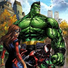 The full #Marvel #CHAMPIONS variant cover #totallyawesome #hulk #msmarvel #spiderman. #hulk #msmarvel #spiderman