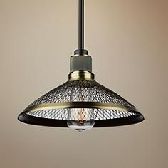 A single light is shaded by a frame of matte black and vintage brass mesh in this decorative metal mini pendant. 10 wide x high x canopy is 4 wide. Includes 10 feet of wire x three and one downrods x hanging weight is 3 lbs. Style # at Lamps Plus. Pendant Light Fixtures, Ceiling Pendant, Pendant Lighting, Cool Chandeliers, Creative Lamps, Old Bar, Wall Mounted Light, Cool Lighting, House Lighting