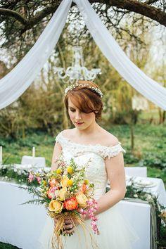 Off Shoulder Lace Dress Bride Gown Bridal Pretty Spring Garden Wedding Ideas http://www.charlottebryer-ash.com/