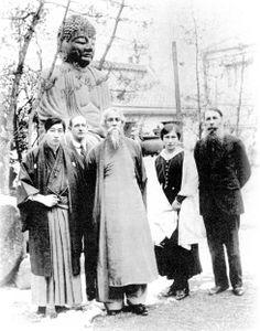 Rabindranath Tagore With the Mother (Mirra Alfassa, spiritual collaborator of Sri Aurobindo) and Paul Richard in Japan in June 1916