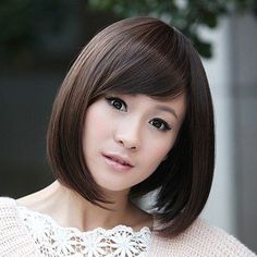 GOOACTION Sweet Cute Short Straight neat Bangs Light Brown Wigs For Women Full Lace Wigs
