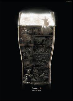 기네스 맥주의 재미있는 광고, 락스타가 되기까지의 험난한 과정을 기네스 맥주잔 안에서 보여주는 모습~