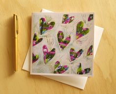 The Leafy Hearts Art Card Love or Valentines by Strongsoutherly