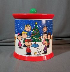 Peanuts Christmas Cookie Jar made in China by Galerie