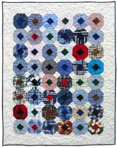 """""""3D Dugout"""", a shirt quilt by Ami Simms.  I have made three quilts out of old shirts."""