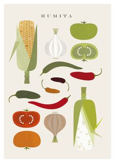 Humita food poster - original illustrated digital image down Digital Print, Digital Image, Printable Designs, Printable Wall Art, Logo Fruit, Design Poster, Graphic Design, Menu Design, Food Illustrations