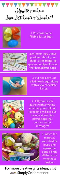 Make a Love List Easter Basket! It's easy to go the extra mile to make your child's (or child-at-heart's! Add a Love List! All you have to do is bra. Creative Presentation Ideas, Some Bunny Loves You, Love List, Plastic Eggs, How To Make Chocolate, Easter Baskets, Creative Gifts, Kids And Parenting, Easter Eggs
