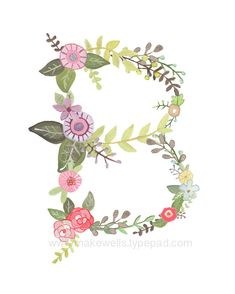 B Floral print by Makewells on Etsy