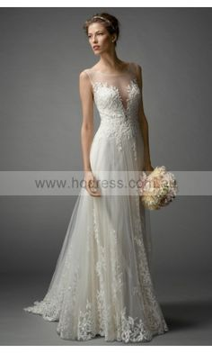A-line Jewel Natural Sleeveless Floor-length Wedding Dresses was0146