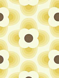 Buy Orla Kiely House for Harlequin Striped Petal Wallpaper, Yellow, 110405 online at JohnLewis.com - John Lewis