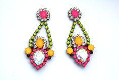unique handpainted vintage rhinestone earrings from delorispetunia on etsy