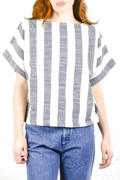 Black Crane Fat Stripe Linen Square Top