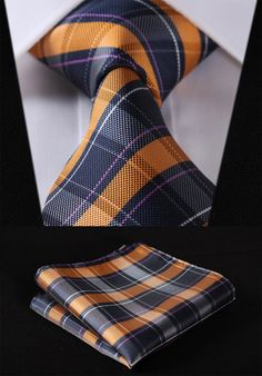 Orange and Blue Tartan Tie and Pocket Square Pocket Square Guide, Tie And Pocket Square, Pocket Squares, Sharp Dressed Man, Well Dressed Men, Tartan Tie, Suit And Tie, Mens Suits, Blue And Silver