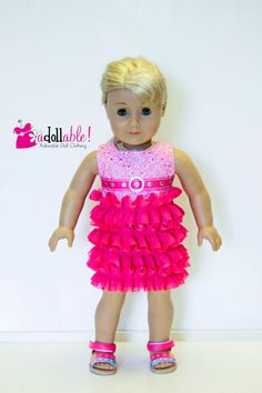 Fun doll dress made with Simple Ruffle Dress pattern by Doll Tag Clothing from PixieFaire