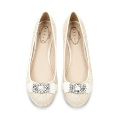 Red Herring Ivory lace embellished pumps- at Debenhams.com