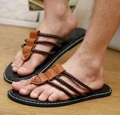 ☀Summer Style☀ Korean Mens Flip Flops Slip On Loafers Non-slip Thongs Casual Beach Shoes Mode Masculine, King Shoes, Mens Beach Shoes, Leather Slippers For Men, Men's Shoes, Dress Shoes, Flipflops, Mens Boots Fashion, Mens Flip Flops