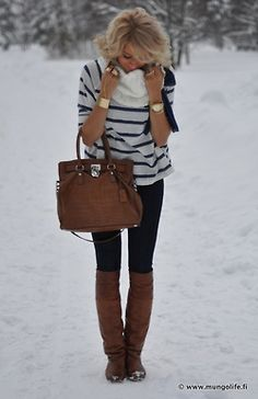 Blue and White Striped Shirt, Brown Tote, Skinny Jeans and Knee High Boots
