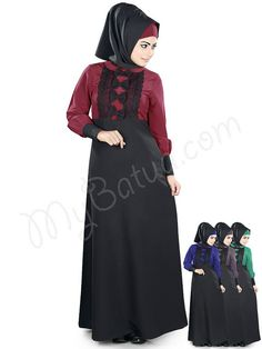 Beautiful Dual_Color Party Wear Rafia Abaya   MyBatua.com