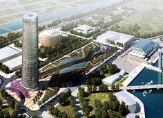 Torre Cajasol en Puerto Triana y el Estadio del Sevilla FC en fase de proyecto, by  César Pelli