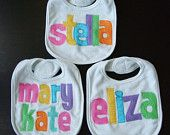 Personalized Bib Appliqued in Gingham Checked Fabrics for Baby by Tried and True Designs on Etsy