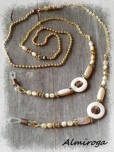 Cordon chaîne pour lunettes DORIA - Nacre et cristal : Lunettes, lunettes de soleil, cordons par almiroga