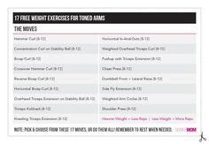 17 Free Weight Exercises card