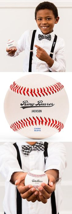 Ring Bearer Gift Idea - Ring Bearer baseball custom printed with his or her name. Ring Bearer Gifts, Wedding Favors, Wedding Planners, Baseball, Printed, Christmas Wedding, Rings, Ideas, Fashion