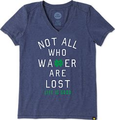 University of Notre Dame Not All Who WaNDer Are Lost Women's V-Neck T-Shirt | Fighting Irish | Life is Good