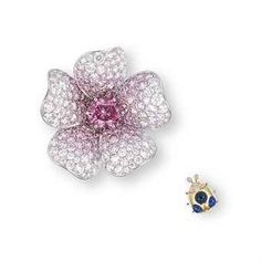 A UNIQUE SUITE OF COLOURED DIAMOND, DIAMOND AND SAPPHIRE JEWELLERY, BY GIMEL Comprising a pendent necklace/brooch designed as a flowerhead, centering upon an oval-shaped fancy vivid purplish pink diamond weighing approximately 1.39 carats, within a furled petal surround pavé-set with brilliant-cut pink and colourless diamonds, to the detachable neckchain, mounted in platinum; accompanied by a cabochon sapphire ladybug pin with brilliant-cut diamond detail, mounted in platinum and 18k yellow…