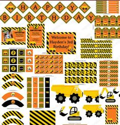 Construction Zone Deluxe Printable Package  you will receive: -Cupcake toppers personalized-Welcome Sign Personalized-HAPPY BIRTHDAY Banner -Invitation you pick style Personalized-small favor squares-Standard Candy Bar Wrappers-Center Piece Numbers 1-9-tent cards-Hanging thank you tags-food labels-cupcake wrappers-tent cards-extra printed paper 11x8.5-mini candy bar wrappers-water bottle labels personalized-thank you note card 4x6 jpeg or PDF-straw flags-Ca