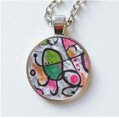 Abstract Pendant Necklace Joan Miro Artist by ArtBeatriceM on Etsy