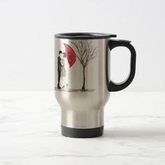Love couple with red umbrella travel mug - romantic gifts ideas love beautiful