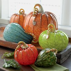 """art & glass - """"Harvest Pumpkins and Squash"""" Art Glass Sculpture - Created by Michael Cohn & Molly Stone"""