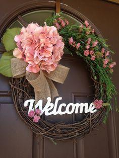 Everyday Wreath Welcome Spring Wreath Hydrangea by Flowenka Letter Wreath, Monogram Wreath, Chevron Burlap, Burlap Bows, Door Wreaths, Grapevine Wreath, Over The Door Hanger, Hydrangea Wreath, Mini Roses