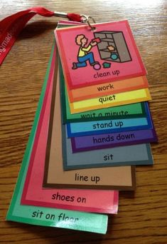 A lanyard with visual supports to use in a classroom or therapy room as a management tool.-- Sanquer Ballisty Ballisty Reeve-Autism Classroom News--picture only Classroom Behavior, Autism Classroom, Special Education Classroom, Behavior Cards, Autism Activities, Therapy Activities, Autism Resources, Shape Activities, Classroom Organization