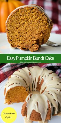 It's that time of year to make this Easy Pumpkin Bundt Cake with GF Option! #pumpkin #glutenfree #bundtcake