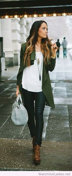 Street style olivia green jacket, ombre hair and brown booties
