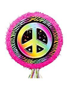 Neon Peace Sign Pinata (Each) by Ya Otta Pinata. $12.99. Size: 18 x 18 x 3. Add to your neon party decorations and party activities at the same time with our Neon Peace Sign Pinata! Our peace sign pinata features a large neon peace sign on a zebra print background. This pull-string pinata is great for both younger and older neon party guests.