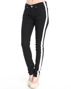 Tuxedo skinny jean pants by Basic Essentials